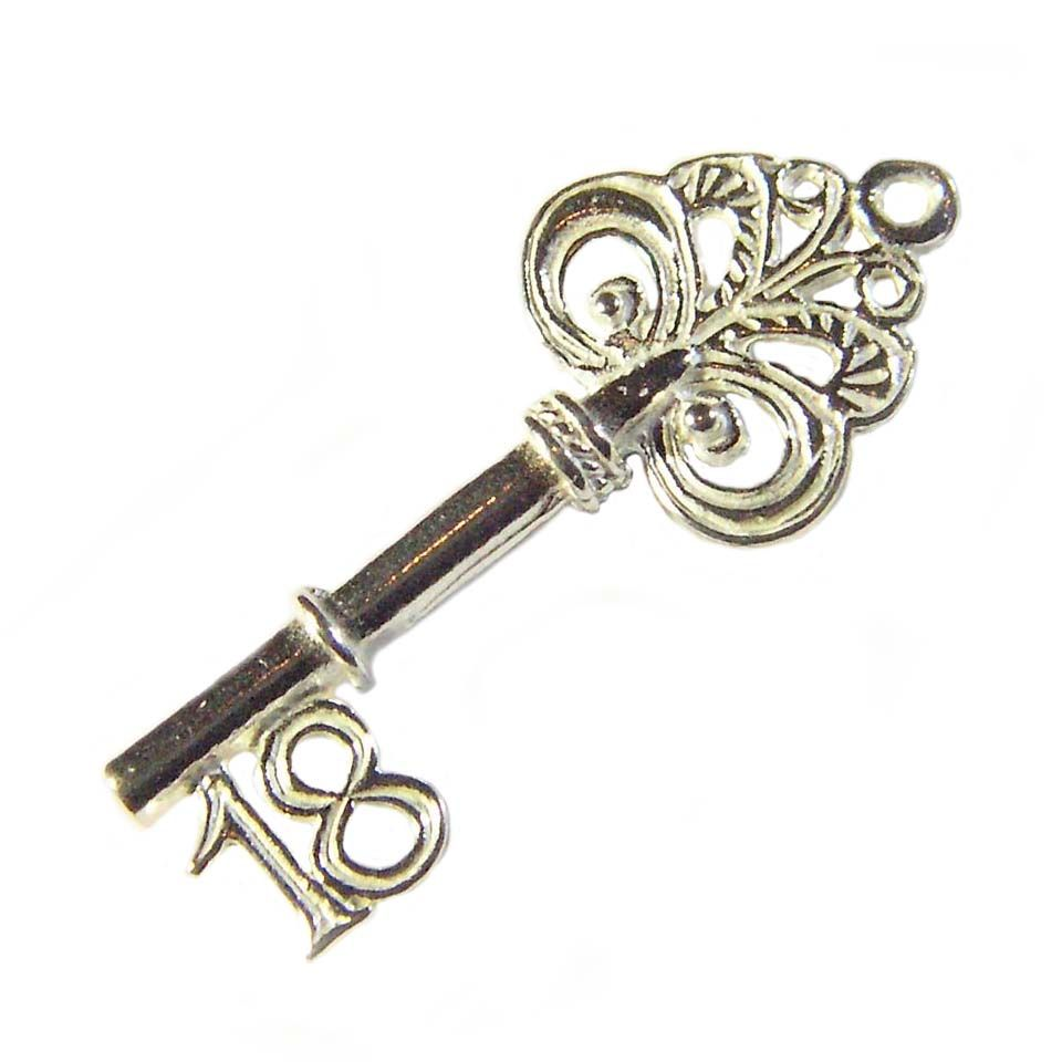 18th Birthday Key Sterling Silver Charm