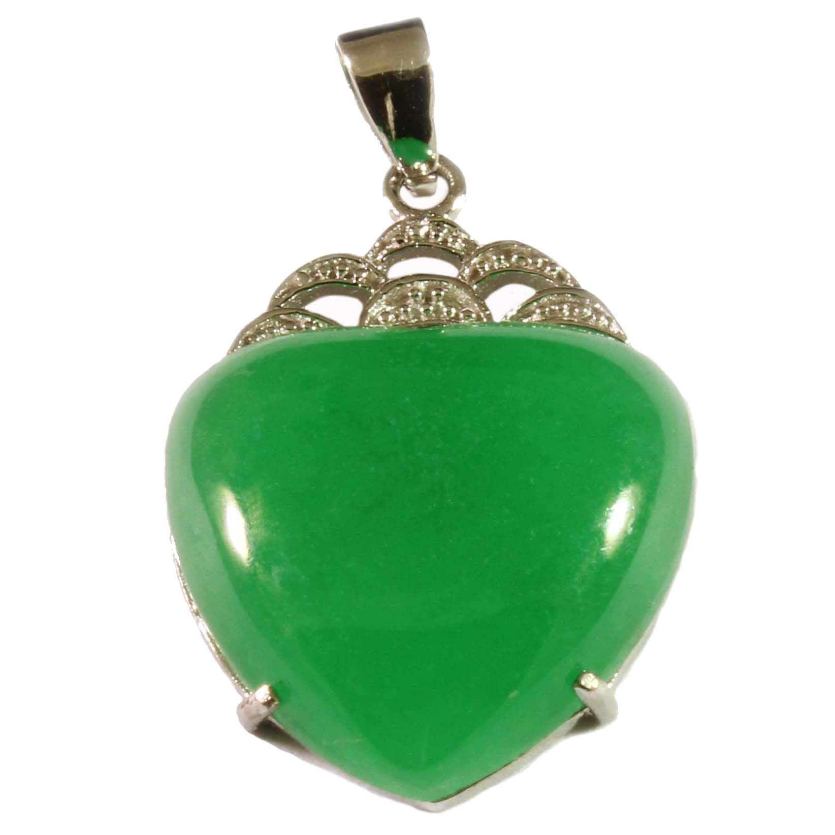Charm school uk sterling silver pendants green jade heart green jade sterling silver heart pendant mozeypictures Choice Image