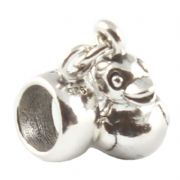 Carrier Bead Cartoon Bear With Suitcase 3D Sterling Silver Dangle Charm