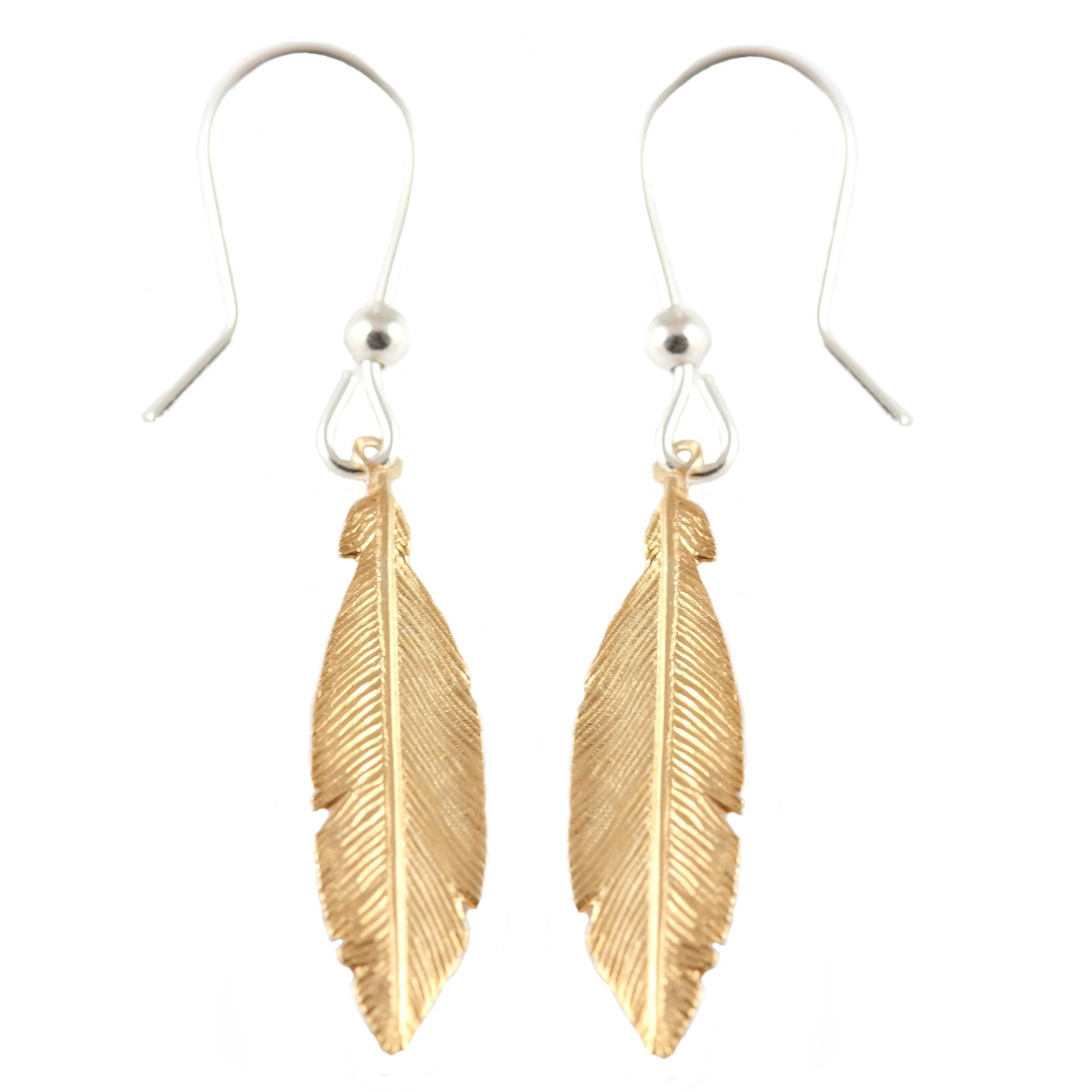 Sterling Silver And Gold Plate Dangling Feathers Earrings