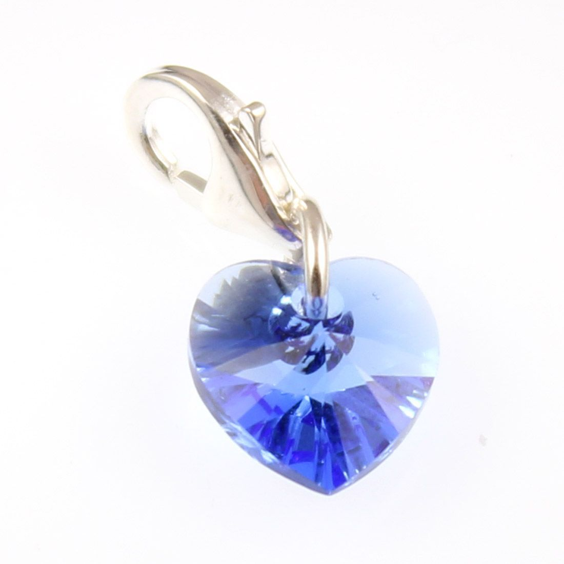 757e8ae02 Sterling Silver Sapphire Crystal Heart Clip on Charm Made with Swarovski  Elements- With 11mm Clasp .