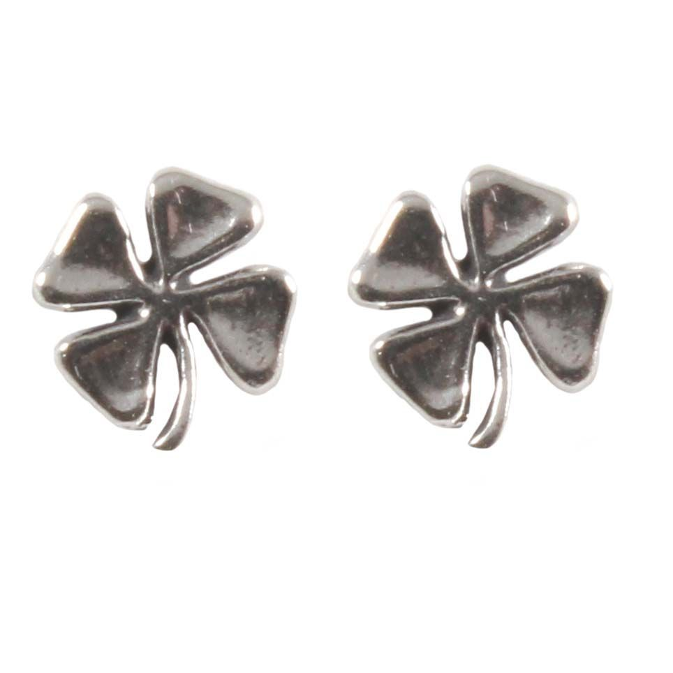 Sterling Silver Stud Earrings Lucky Four Leaf Clover