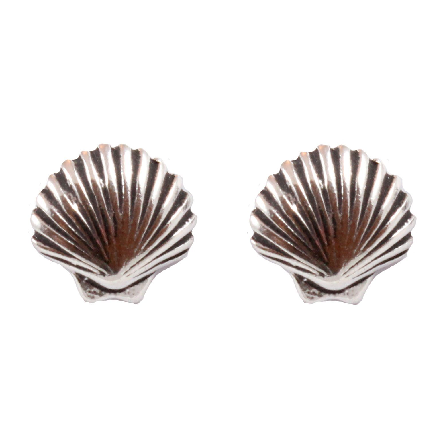 Charm School Uk Gt Sterling Silver Stud Earrings Gt Scallop
