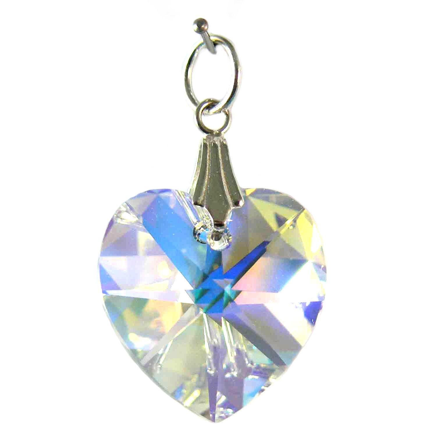 Charm school uk swarovski crystal pendants aurore borealis heart swarovski aurora borealis heart crystal pendants silver bail aloadofball Images
